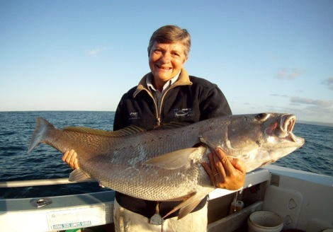 Sue Malton, National Treasurer with her pending record Mulloway